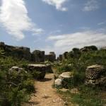Ruines de la basilique et au milieu le soubassement de la colonne de Saint Siméon le Stylite
