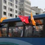 Bus rempli de supporters d'un parti politique à Istanbul