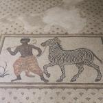 Mosaique représentant un zèbre et un serviteur, musée Haleplibahçe de Şanlıurfa