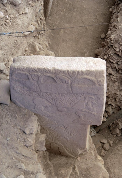 Un des mégalithes de Göbekli Tepe